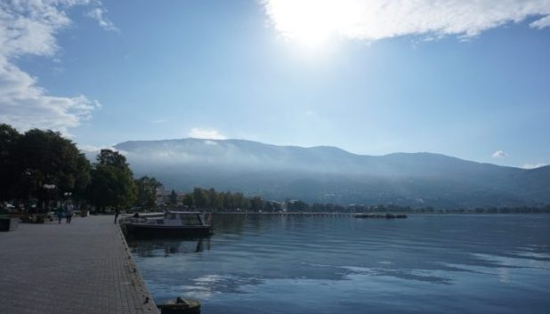 The boardwalk at Ohrid, Macedonia