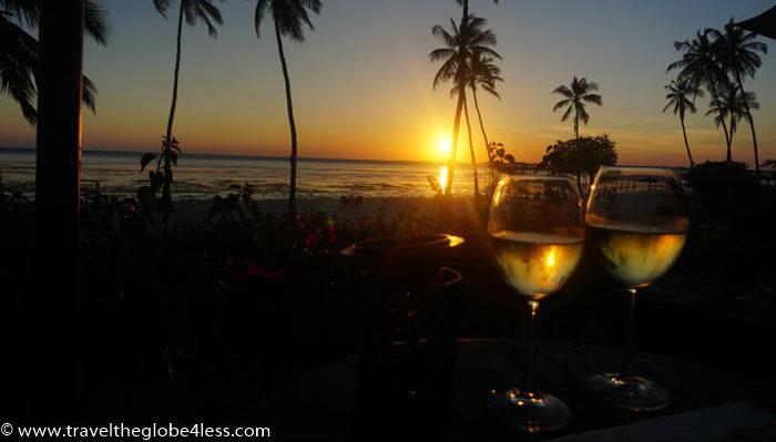 Residence Zanzibar sunset wine
