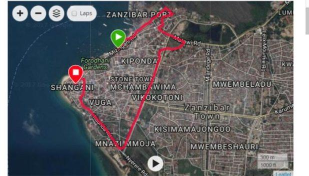 jogging route in Zanzibar