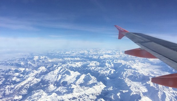 A view of the mountains from an EasyJet plane
