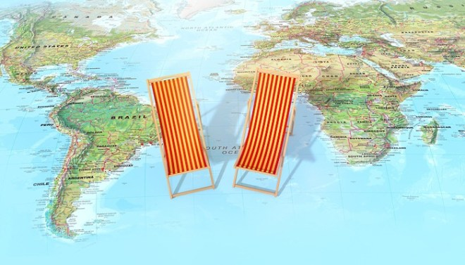 Map and deckchairs
