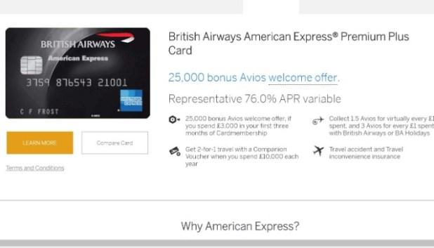Details of the BA Amex Premium Plus card