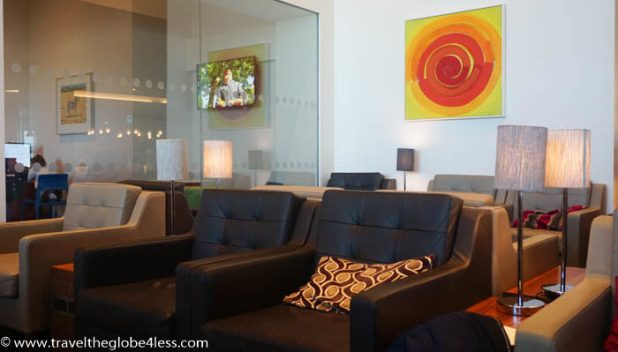 comfy seating in the British Airways Gatwick lounge