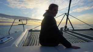 Sunset onboard a catamaran