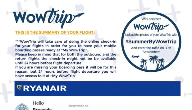 WowTrip flight itinerary