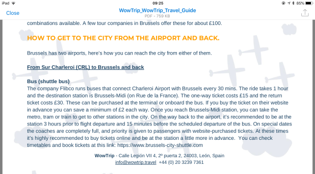 Brussels Charleroi transfer information