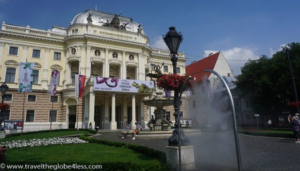 Bratislava theatre and spray point