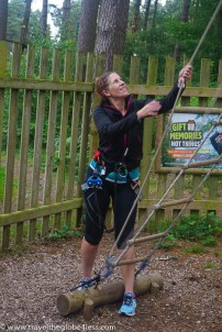 Me heading up onto the treetop platform