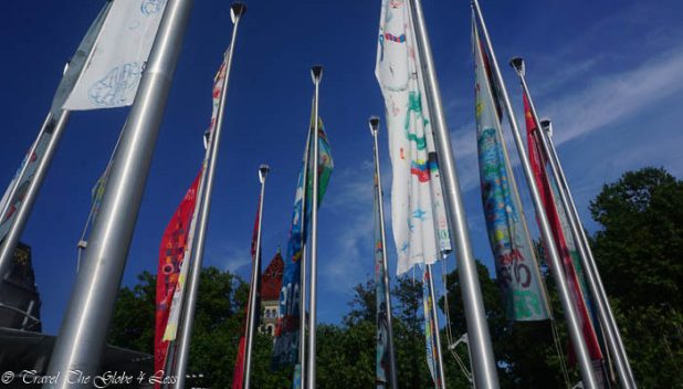 Flags at Ouchy port in Lausanne