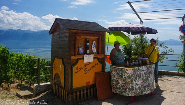 Wine bar overlooking Lake Geneva