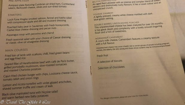 British Airways First Class Concorde Room menu