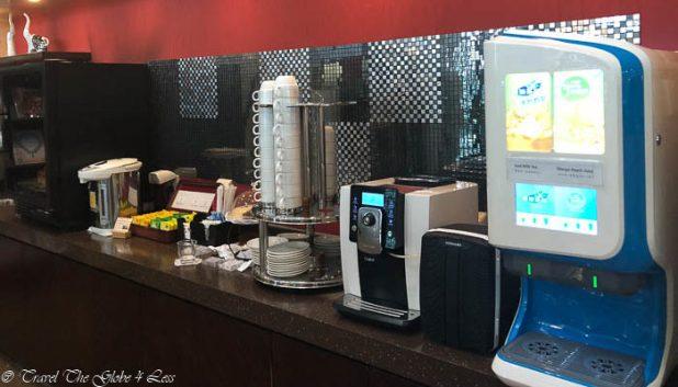 Self service drinks area in BJS Beijing First Class lounge