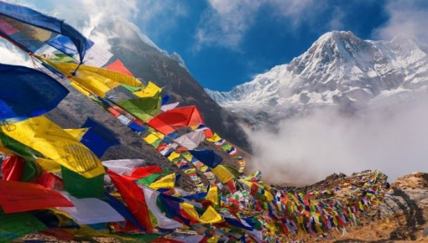 prayer flags in the Himalayas.