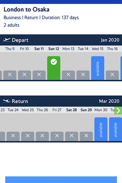 BA app flight selection