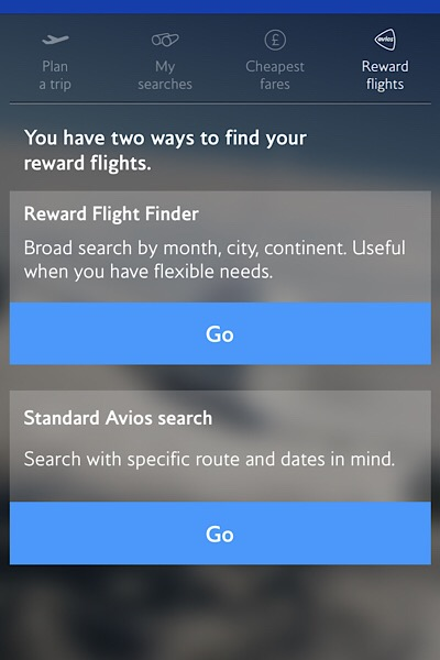 BA reward flight finder