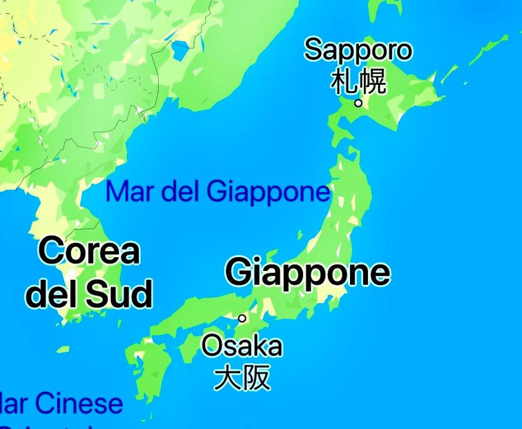 mappa giappone corea del sud