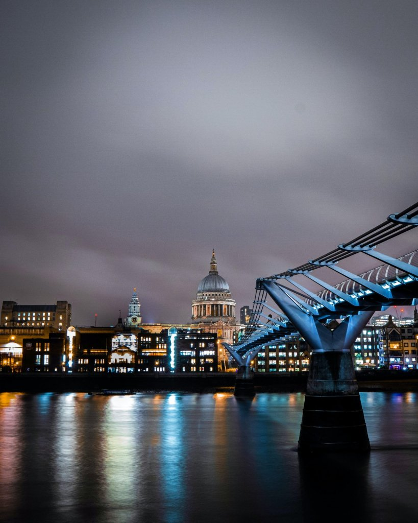 millenium bridge di sera londra