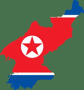 mappa corea del nord e bandiera