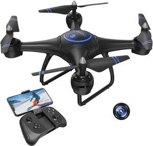 Akaso Drone ed è blu e nero, c'è anche il joystick per il comando e lo smartphone migliori drone 2021 traveltherapists
