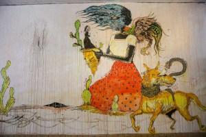 Raleigh Street Art Woman Dog