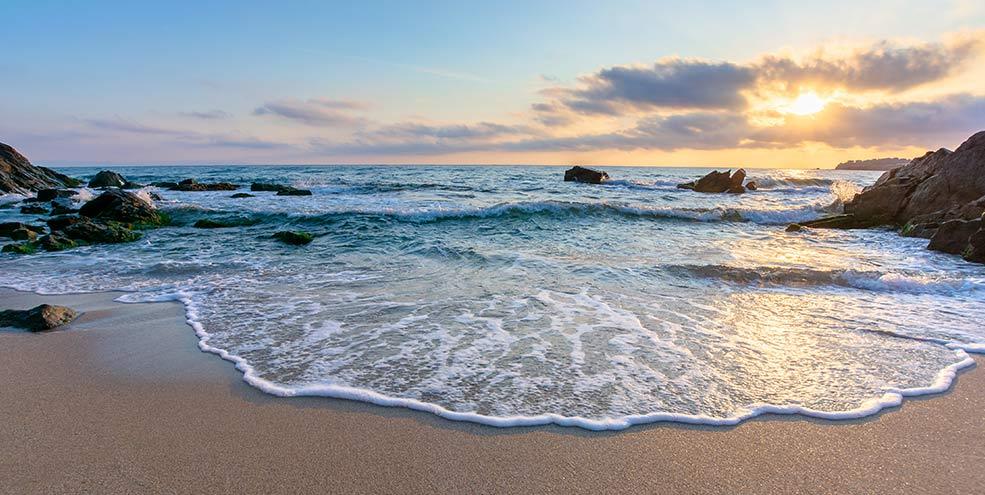beautiful sandy beach sunset