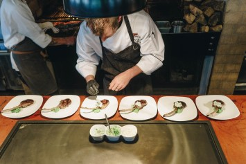 Chef plating lamb chops