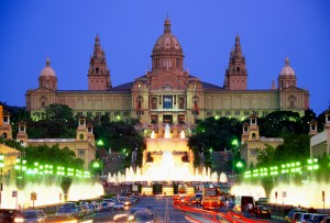 The National Palace Magic Fountain on Plaza de Espaynya at night in Barcelona, Spain --- Image by © Royalty-Free/Corbis
