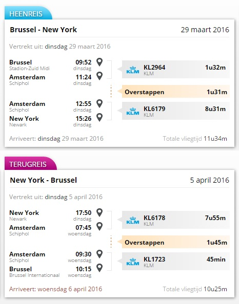 #15 Brussel - New York route