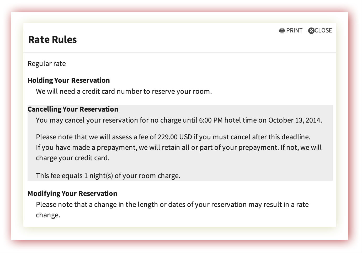 Letter Reservation Sample Cancellation