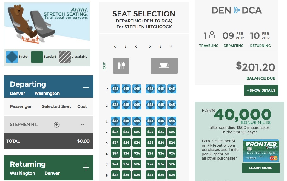frontier airlines seat assignments