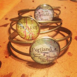 Metal Bracelet with a map of portland oregon