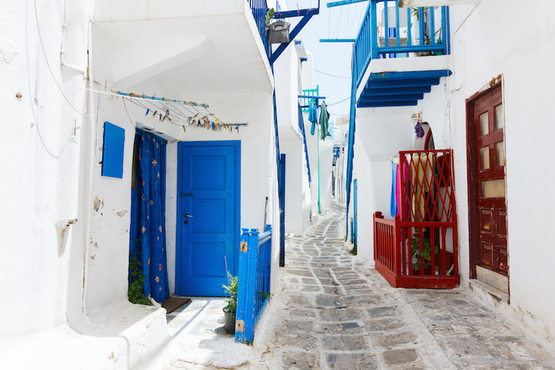 Traditional street of Mykonos island in Greece