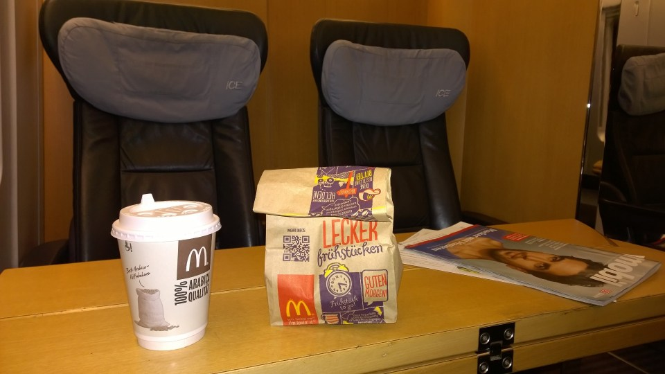 Mc Donalds breakfast in the train (nothing else was open at 5 am)