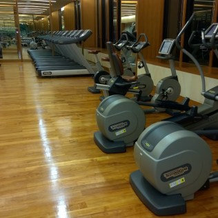 Many machines in the gym of the Mandarin Oriental Jakarta