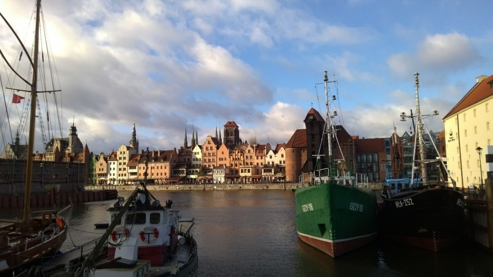 The old town of Gdansk from distance