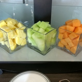Freshly cut fruits at the breakfast buffet
