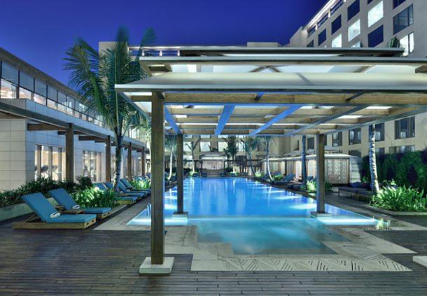 Big enough for laps: The outdoor pool of the JW Marriott Mumbai Sahar