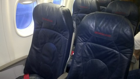 The seat configuration in the Air Berlin Dash Q-400 is 2-2