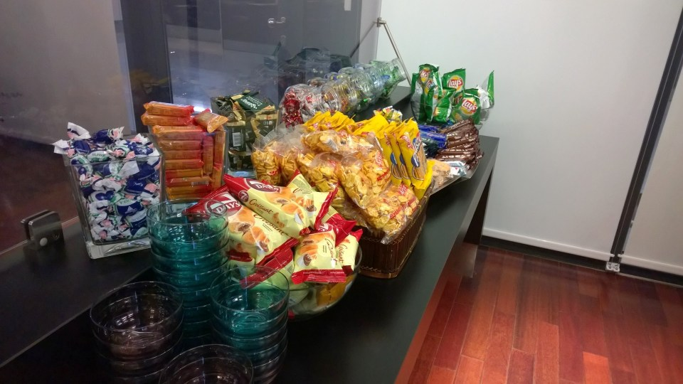 The Executive Lounge has a buffet that looks like a supermarket