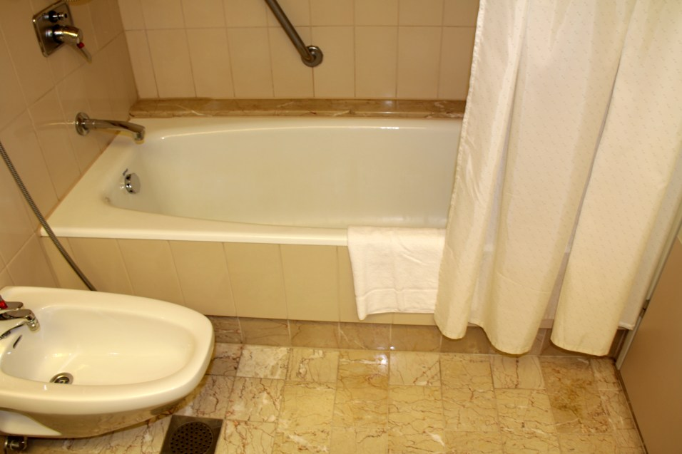 Bathtub with old and dirty shower curtain