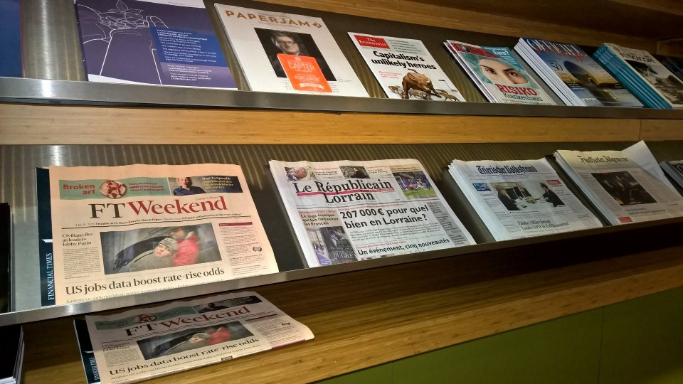 The choice of newspapers and magazines in The Lounge Luxembourg is very good