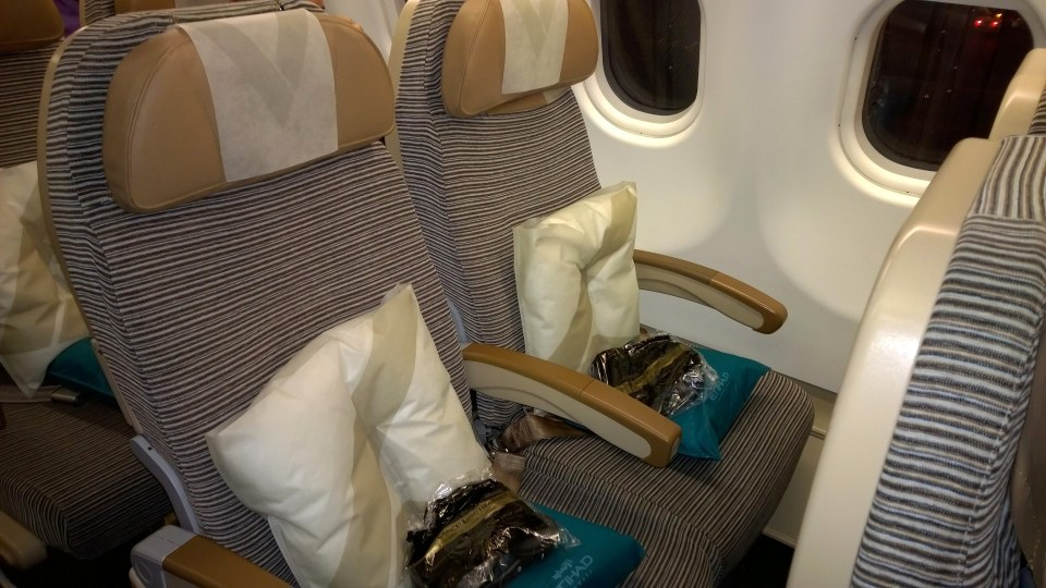 Economy Class seats in the Etihad Airways airplane