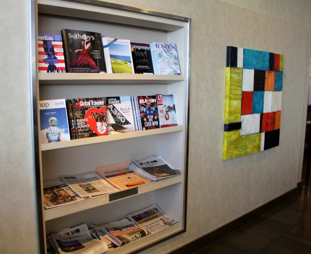 Choice of newspapers and magazines in the Admirals Club in New York