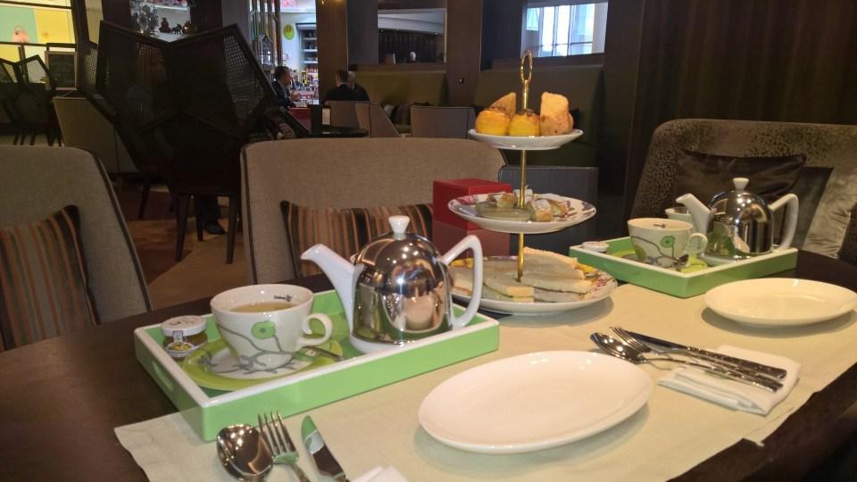 Setting for Afternoon Tea at Kempinski Hotel Corvinus Budapest