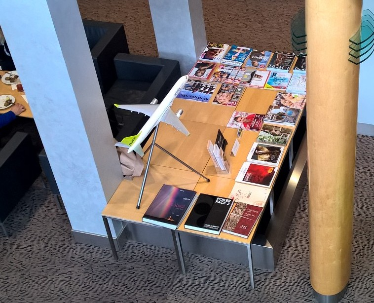 Choice of international magaznies at Business Lounge Riga