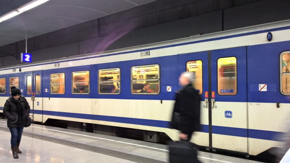 The S-Bahn in Vienna is blue