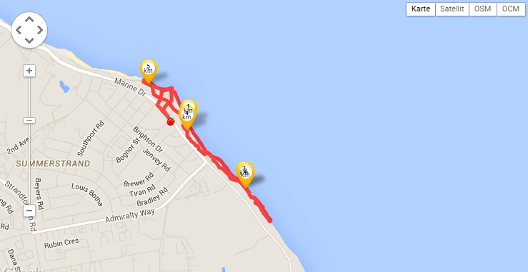 Map of my jogging route in Summerstrand (tracked by Runtastic)