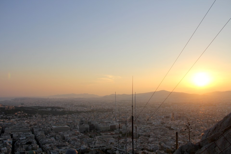 View from Lycabetus Hill of Athens
