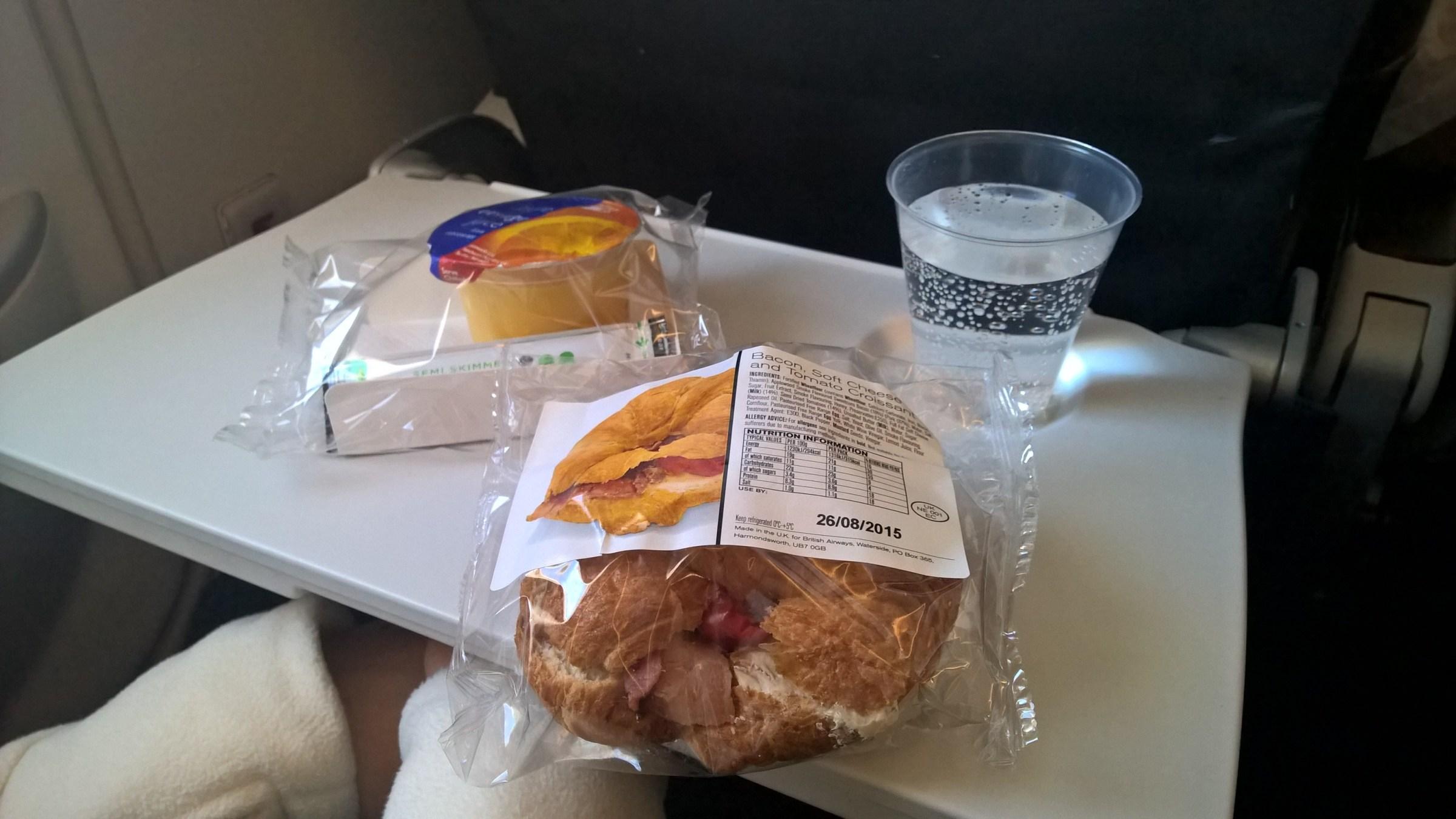 British Airways regional Economy catering