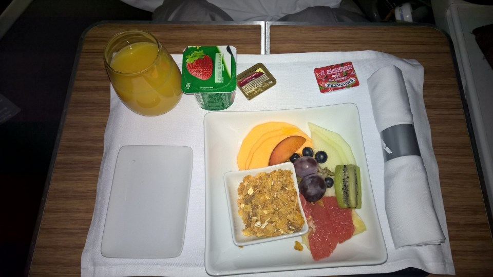 American Airlines Business Class Breakfast